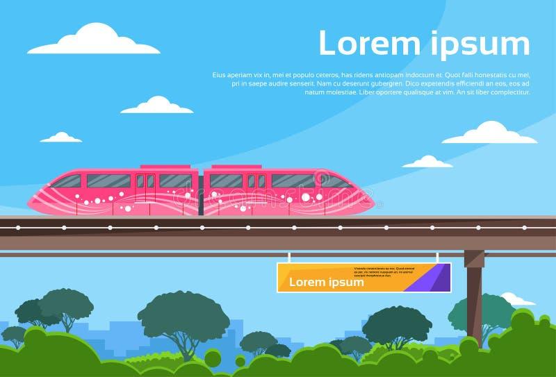 Monorail Train Sky Subway Public Flat Vector vector illustration
