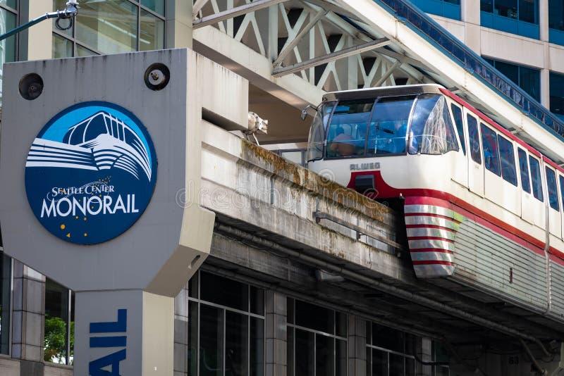 Monorrail del centro de Seattle en Seattle Washington fotos de archivo