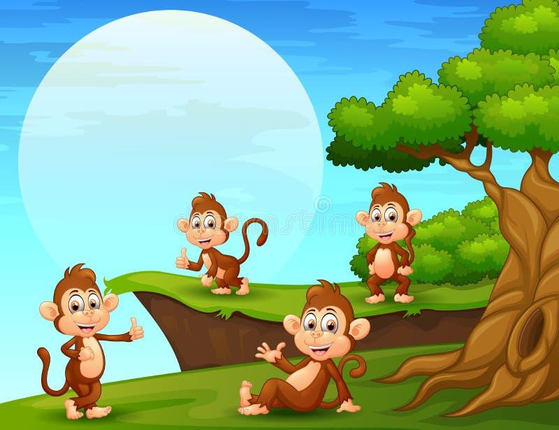 Monos de la historieta que juegan cerca del acantilado libre illustration