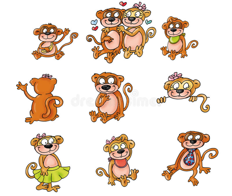 Monos de la mascota, familia stock de ilustración