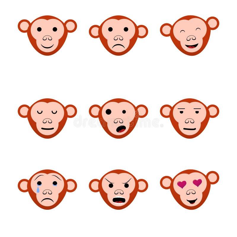 Monos de las caras de las emociones nueve iconos determinados stock de ilustración