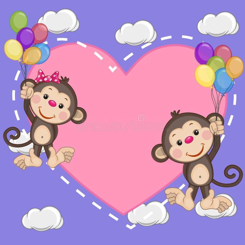Monos de los amantes stock de ilustración