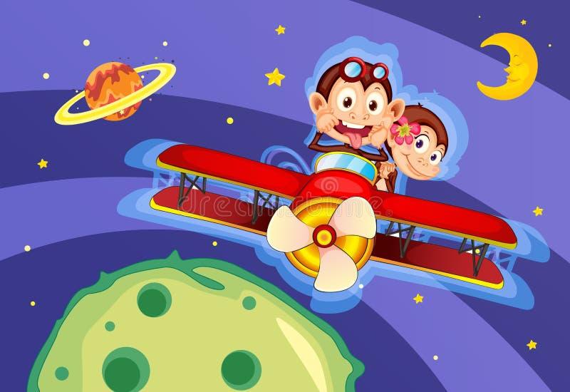 Monos en aviones ilustración del vector