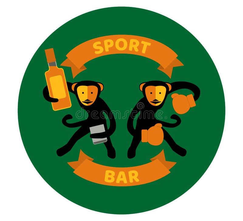 Monos negros que beben y que encajonan libre illustration