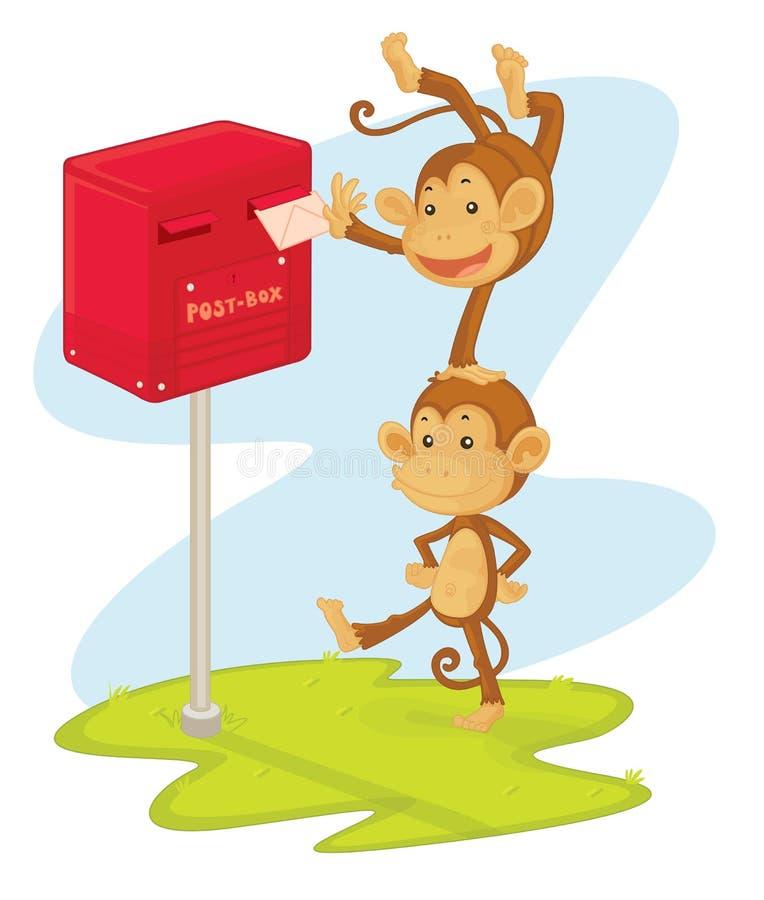 Monos que fijan una carta stock de ilustración