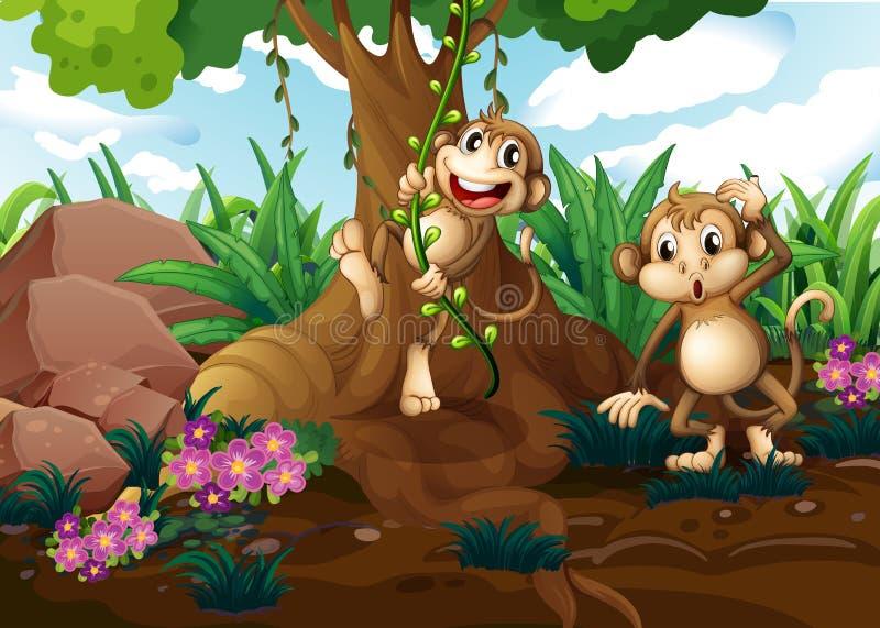 Monos que juegan debajo del árbol ilustración del vector