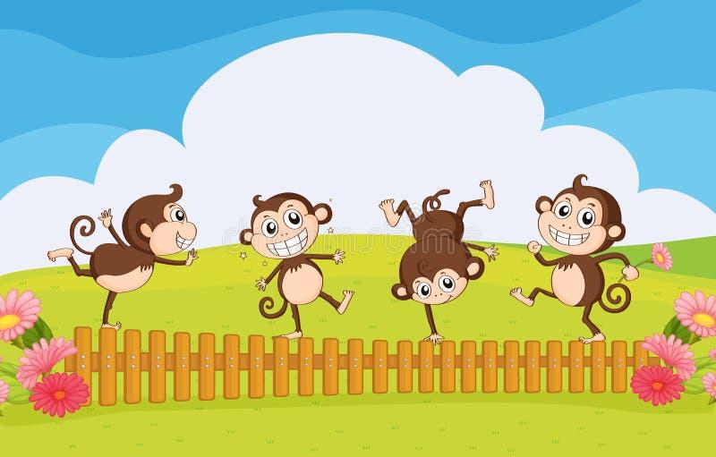 Monos que juegan en el jardín stock de ilustración