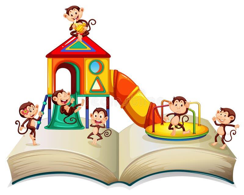 Monos que juegan la diapositiva en el libro stock de ilustración