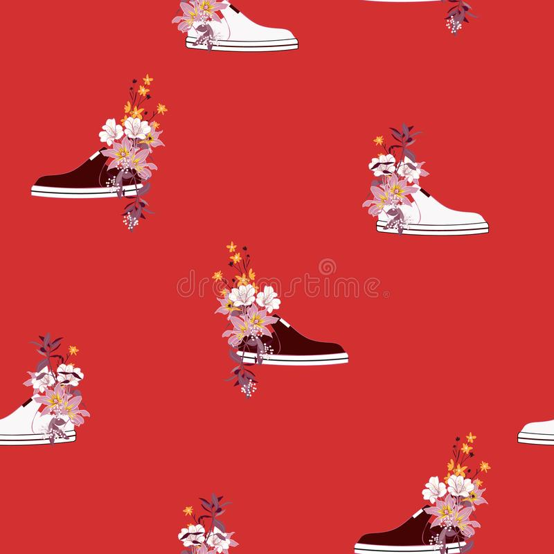 Monotone κόκκινα και πορτοκαλιά λουλούδια στα πολύχρωμα πάνινα παπούτσια χρησιμοποιούμενα απεικόνιση αποθεμάτων