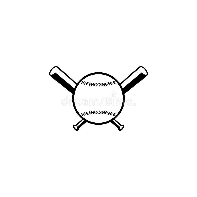 Monotone λογότυπο χρώματος ροπάλων του μπέιζμπολ ελεύθερη απεικόνιση δικαιώματος