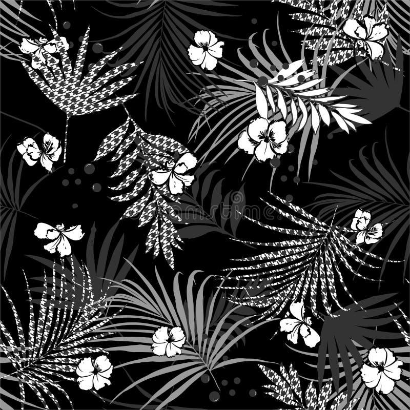 Monotone черно-белая тропическая безшовная картина с цветками и houndstooth заполнени-в предпосылке Houndstooth листьев иллюстрация вектора