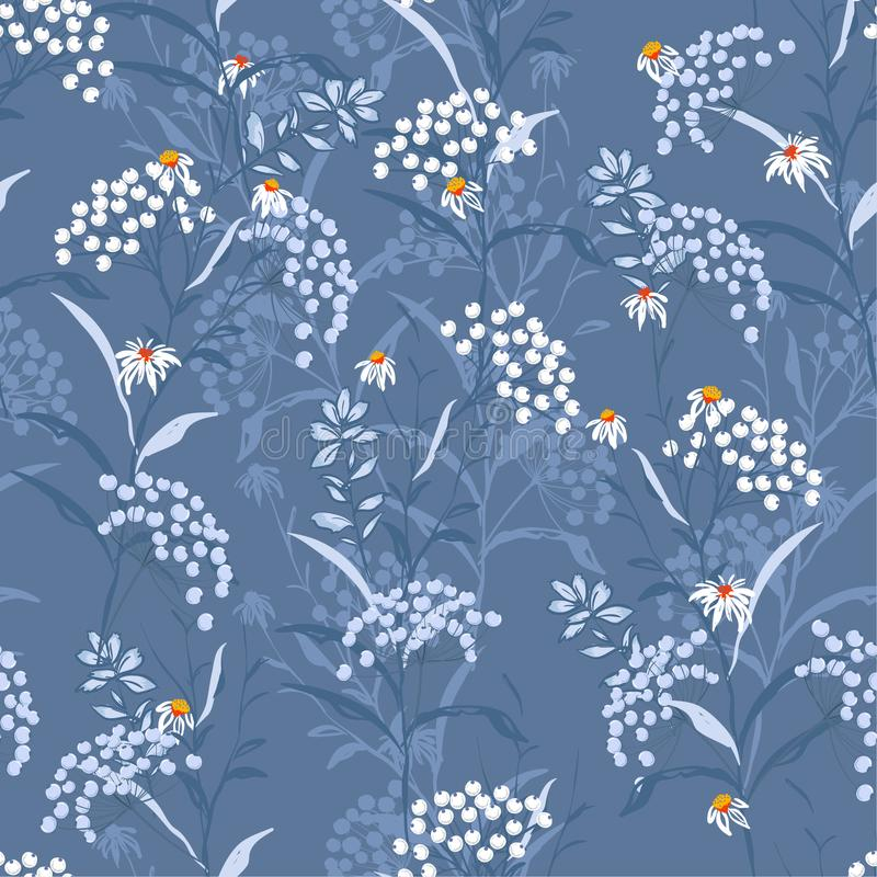 Monotone Autumn seamless pattern vector with white and blue berries and leaves. Fall colorful floral background.pattern for royalty free illustration