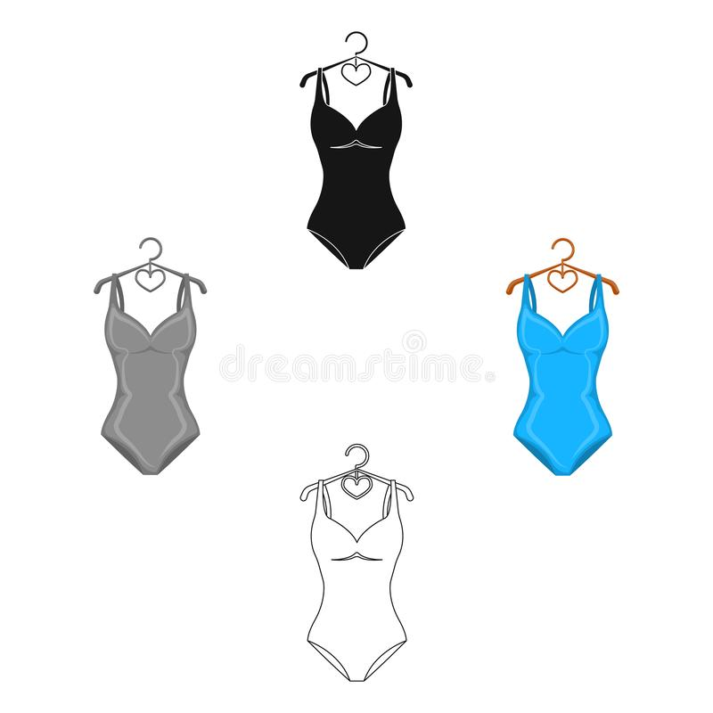 Monotone b??kitny swimsuit dla dziewczyn K?pa? si? odziewa w basenie Swimcuits pojedyncza ikona w kreskówce, czerń stylowy wektor ilustracji