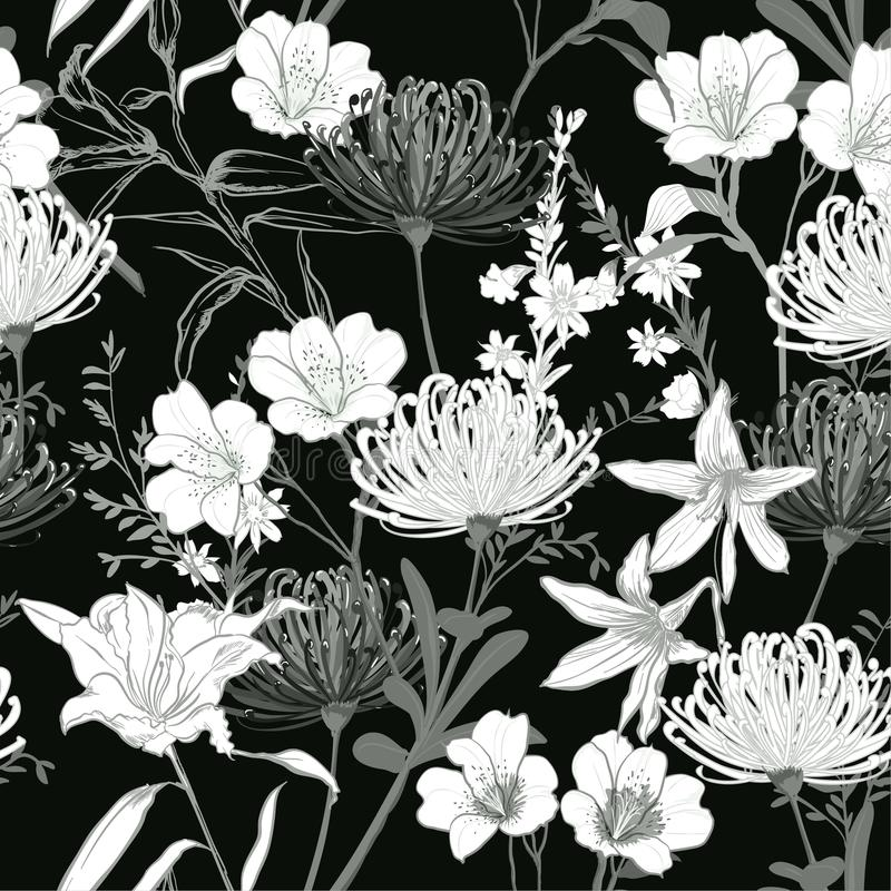 Monotone balck and white botanical blooming garden flowers unfinished line drawing seamless pattern vector vector illustration