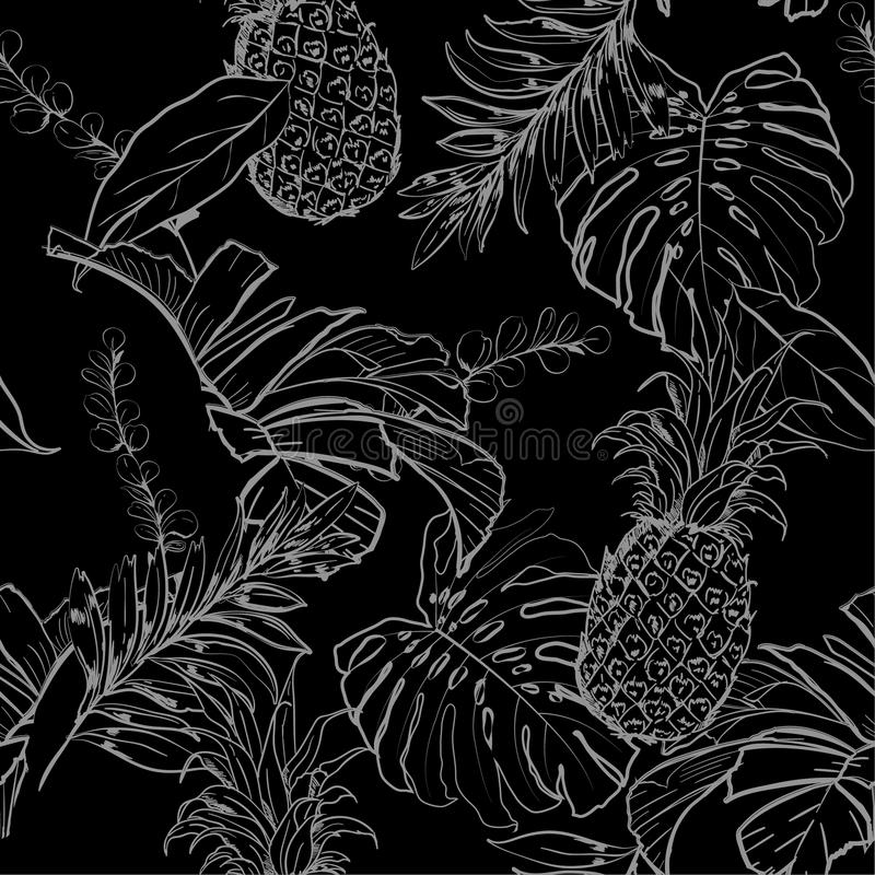 Monotone black and white summer night Outline hand drawing Exotic leaves seamless pattern. vector illustration
