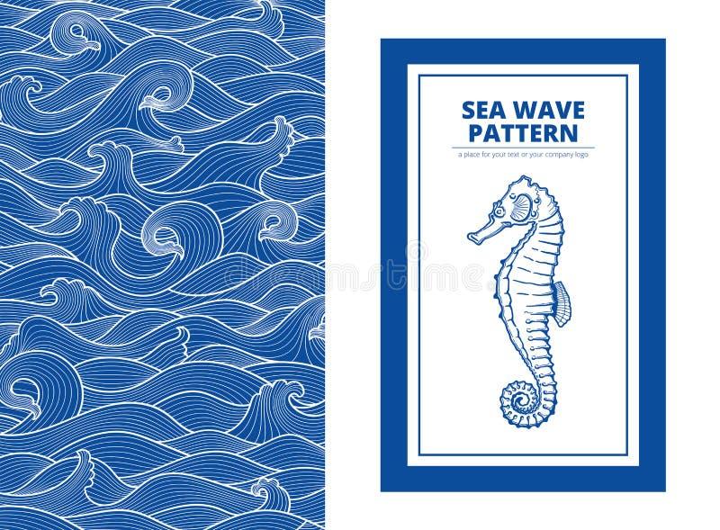 Monotone blaue Meereswellen der Postkartenfahne und der Seahorse vektor abbildung
