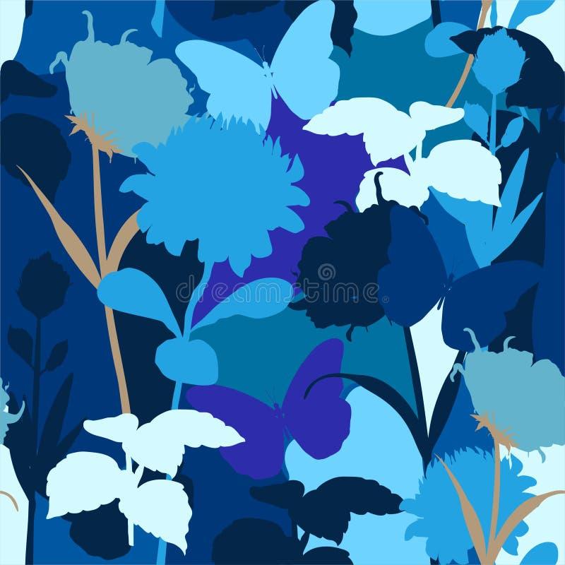 Monotone blauwe Moderne kleur en silhouet van naadloze patroon van protea het bloemen en botanische installaties in modieuze vect stock illustratie