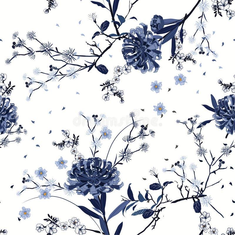 Monotone blauwe Naadloze de tuinbloem van de patroon vector Oosterse zomer met botanisch bloeien en kersen bloosom bloemenontwerp royalty-vrije illustratie