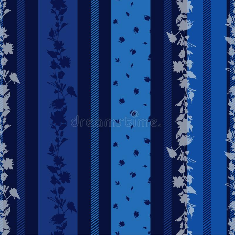 Monotone blue Seamless pattern with delicate Floral  with stripes amd pattern small flowers mixed wallpaper. Design for  fabric, textile, wrapping paper pattern royalty free illustration