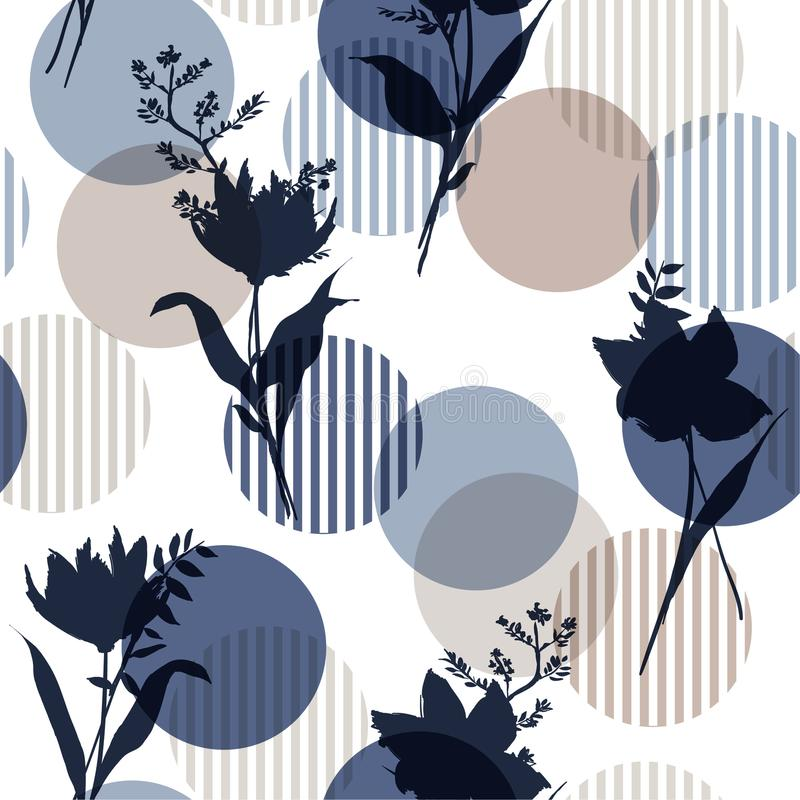 Monotone in blue Vector botanic silhouette floral seamless pattern on modern colorful stripe polka dot, delicate flower vector illustration