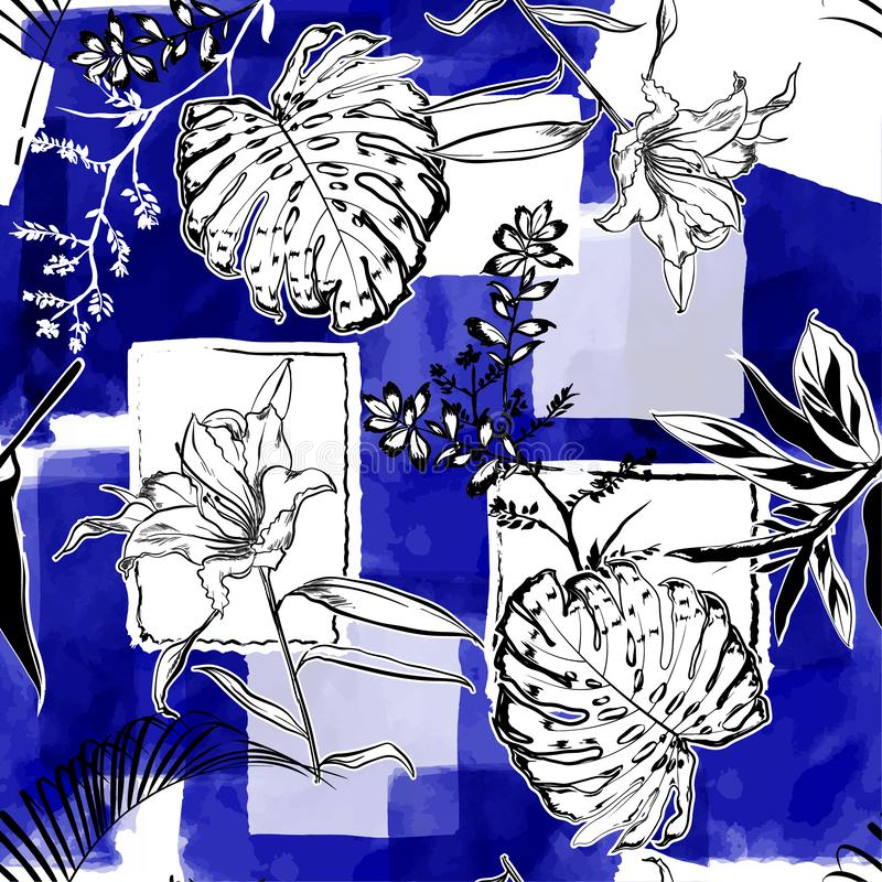 Monotone blue watercolor and ink doodle shapes seamless pattern. With hand drawn sketch botanical and flower stock illustration