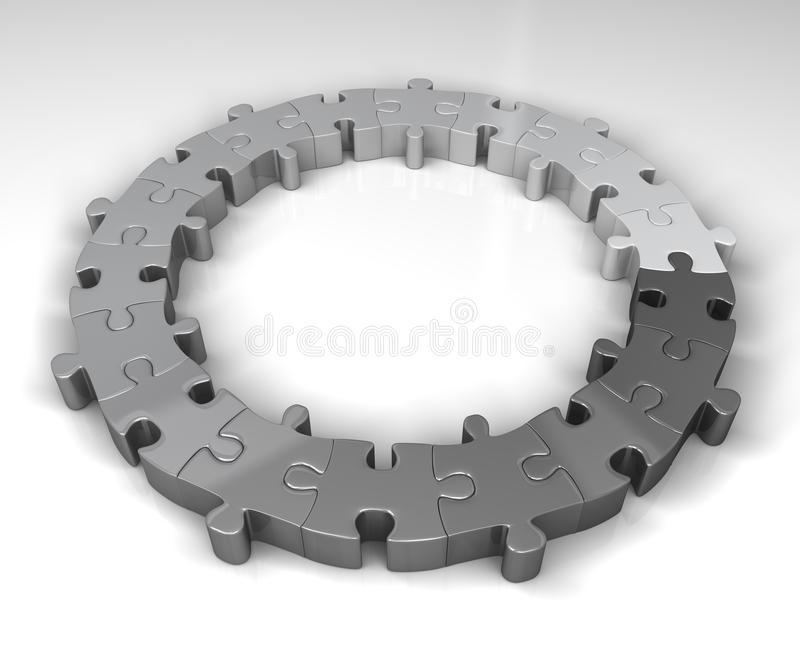 Monotone gradient puzzle ring in shades of grey. Interconnected. 3D rendered reflective on white background vector illustration