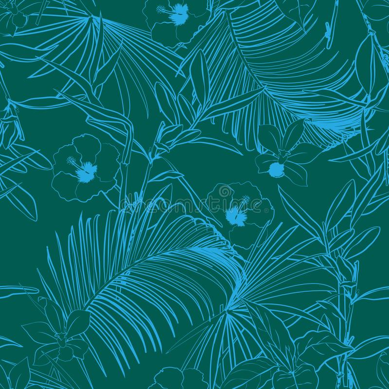 Monotone groene Overzichts bospalmen en tropisch boso royalty-vrije illustratie