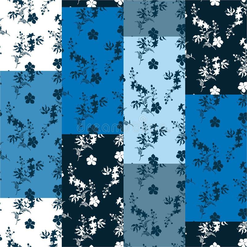 Monotone sur le modèle vertical d'ombre de patchwork bleu de vecteur Collage décoratif botanique floral de silhouette moderne Fon photographie stock