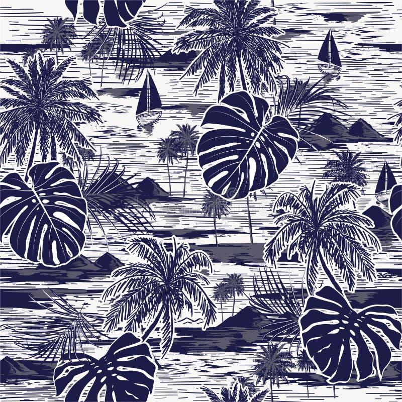 Monotone vector hand drawn on navy blue seamless island pattern on white background stock illustration