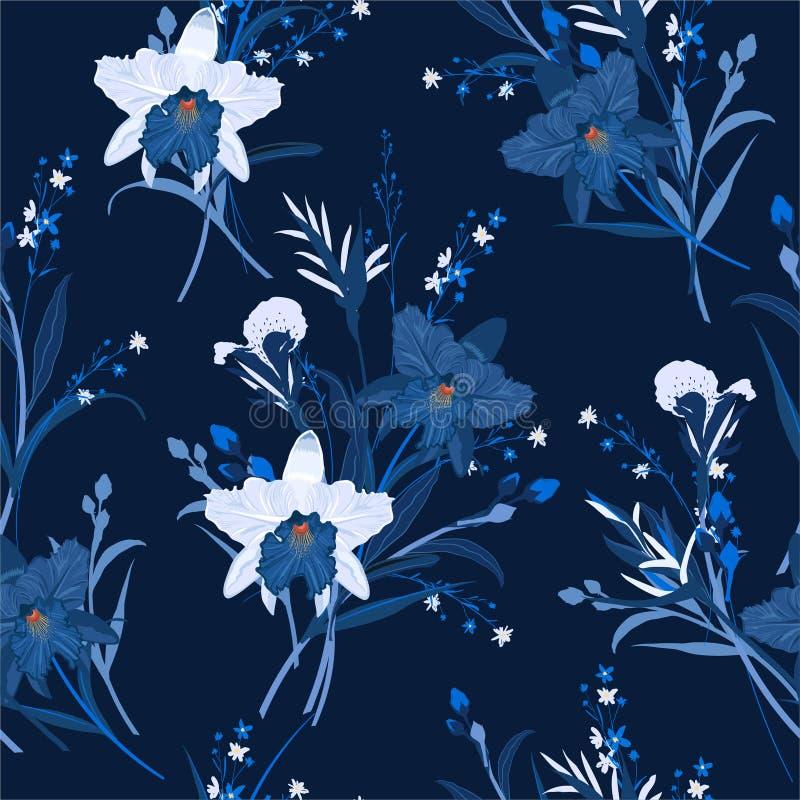 Monotone w błękicie Kwiecisty bezszwowy wzór z orchideami R?ka rysuj?ca wektorowa ilustracja Projekt dla mody, tkanina, sie?, tap royalty ilustracja