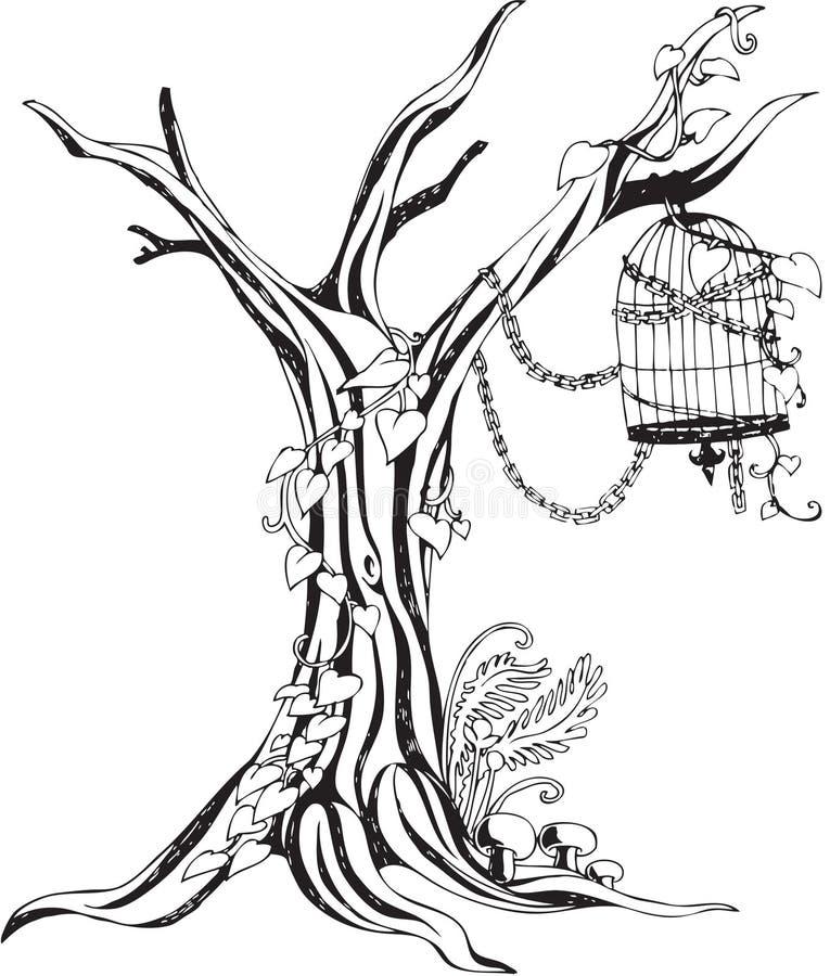 Monotoner Baum und Birdcage lizenzfreie stockfotos
