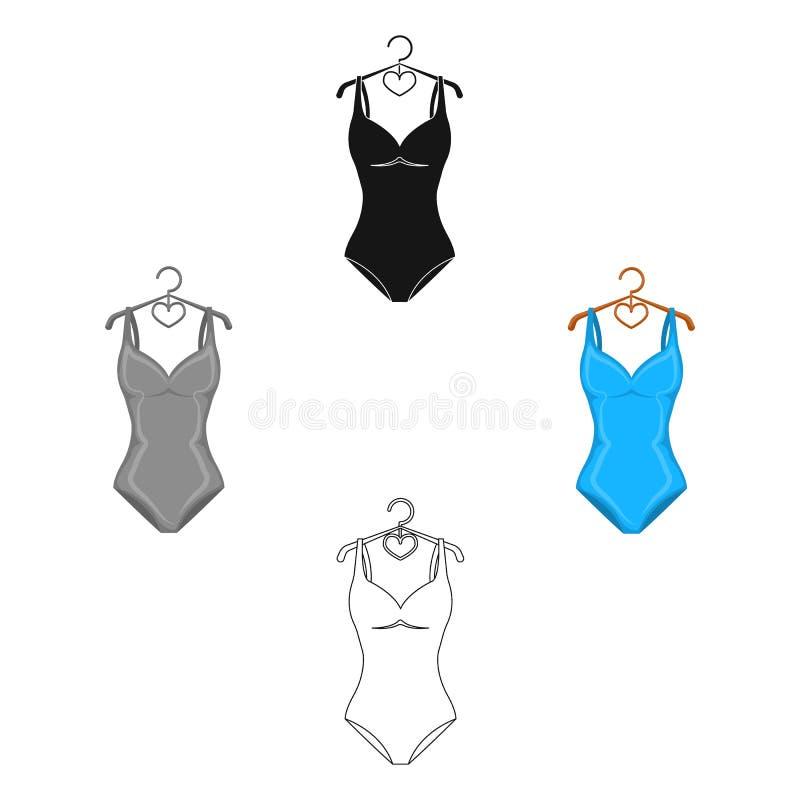 Monotoner blauer Badeanzug f?r M?dchen Baden von Kleidung im Pool Einzelne Ikone Swimcuits in der Karikatur, schwarzes Artvektors stock abbildung