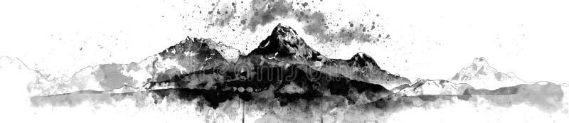 Monotones Bergspitzepanoramabild vektor abbildung