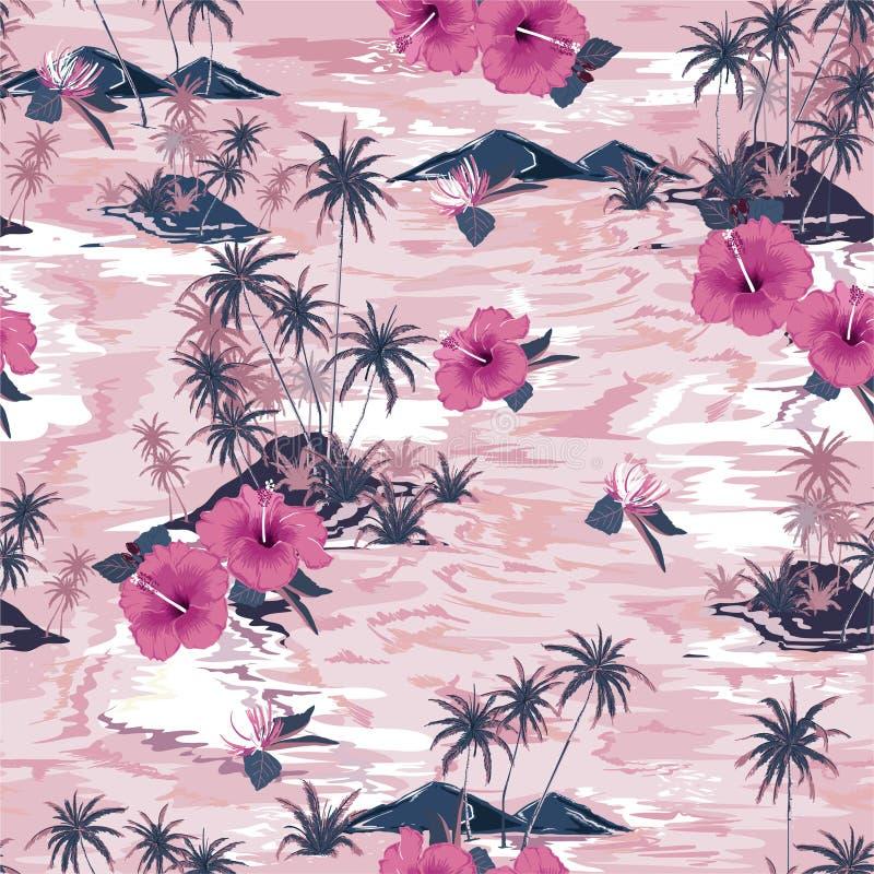 Monotones Weinleserosa des Trauminselsommerparadieses mit blühenden Hibiscusblumen, Palme und exotischem Betriebsentwurf für lizenzfreie abbildung