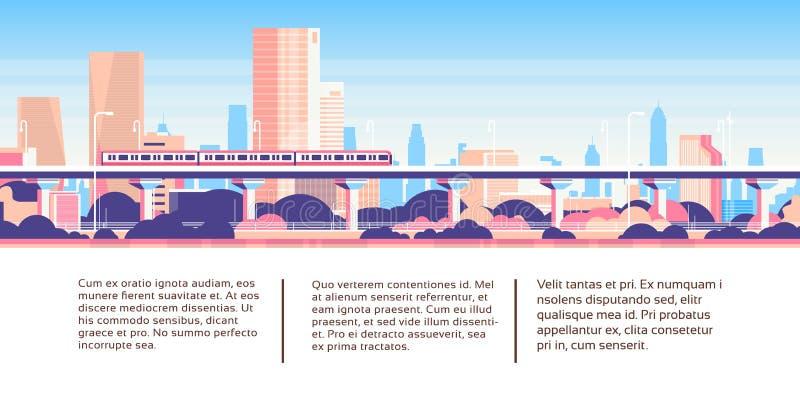Monotrilho do metro sobre da skyline infographic do fundo da arquitetura da cidade do molde do negócio do arranha-céus da cidade  ilustração royalty free