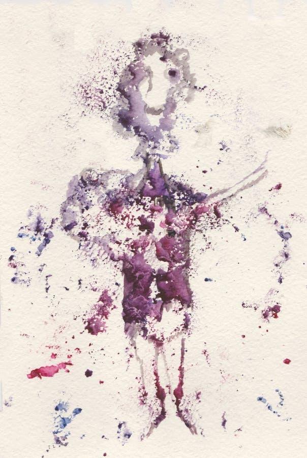 Monotypy, zingend meisje royalty-vrije illustratie