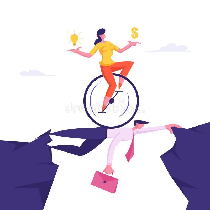 Monowheel的女商人与美元和电灯泡在乘坐在头顶上商人同事的手上 库存例证