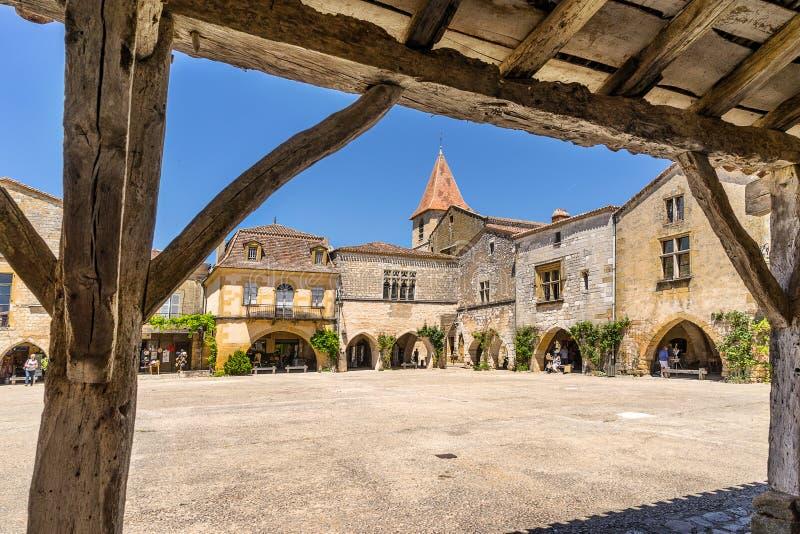 Monpazier στο Dordogne στοκ φωτογραφία με δικαίωμα ελεύθερης χρήσης