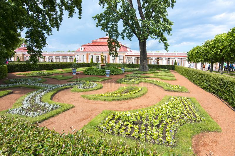 Monplaisir palace in Lower park of Peterhof, Saint Petersburg, Russia stock image