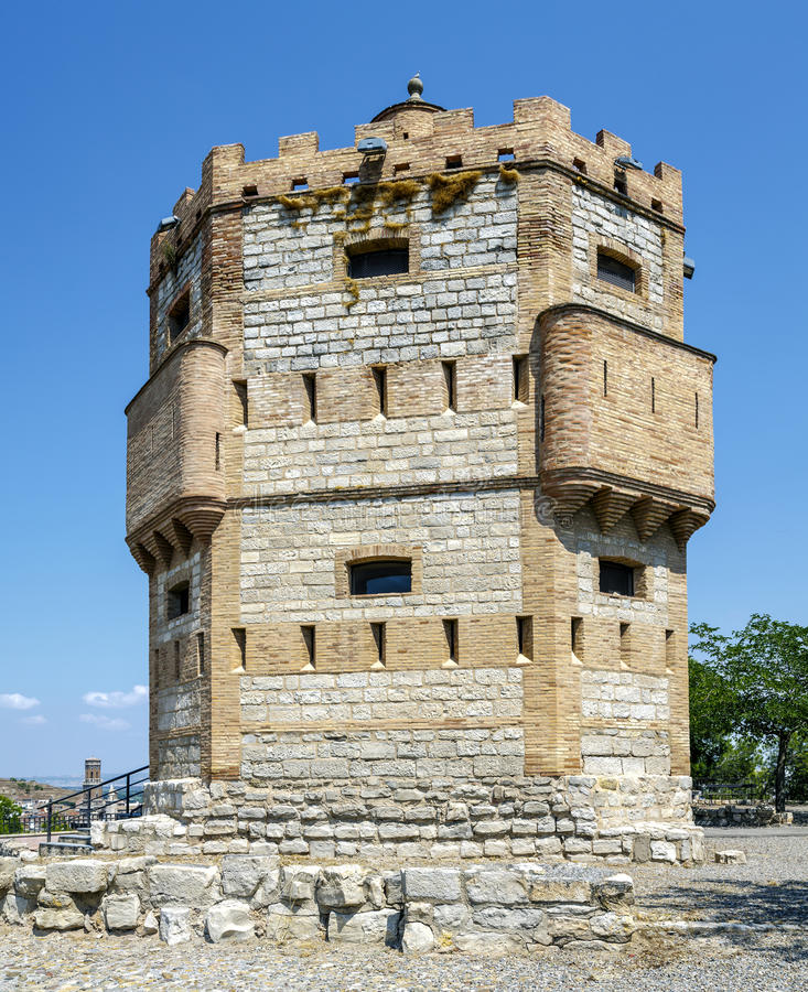 Monreal Tower in Tudela, Spain. Monreal Tower is a defensive structure built in the thirteenth century on a watchtower southwest of Tudela, Spain stock photo
