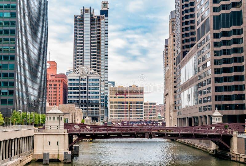 Monroe Adams Street Bridge Chicago photo libre de droits