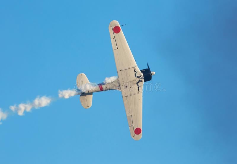 Pearl Harbor Attack Reenactment. MONROE, NC - NOVEMBER 11, 2017: Reenactment of the Japanese Attack on Pearl Harbor during Warbirds Over Monroe Air Show in stock photography