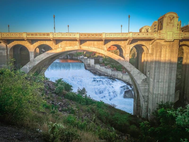 The Monroe Street Dam and bridge at night, in Spokane, Washington royalty free stock photography