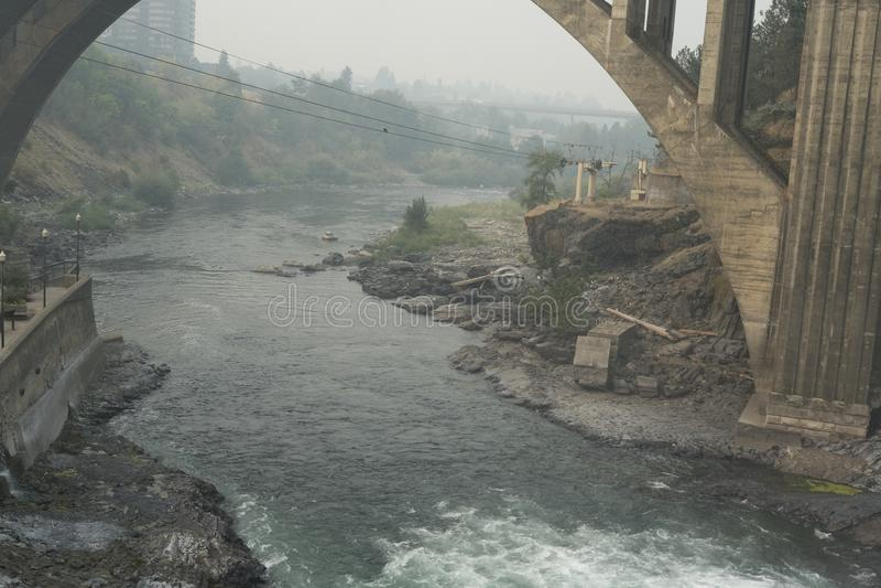 Monroe Street Dam en de Lagere Dalingen van Spokane stock foto's