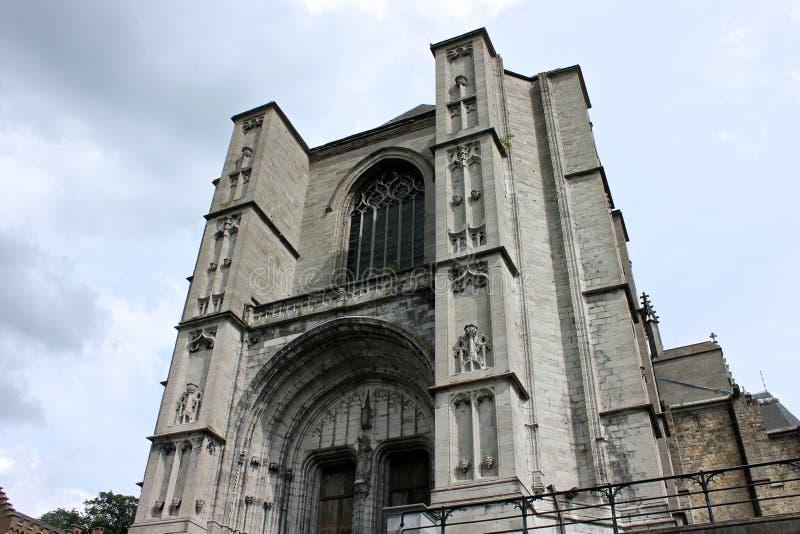 Saint Waltrude Collegiate Church, Mons, Belgium. Mons, Belgium. The Saint Waltrude Collegiate Church Collegiale Sainte-Waudru, a major Bravantine Gothic landmark royalty free stock images