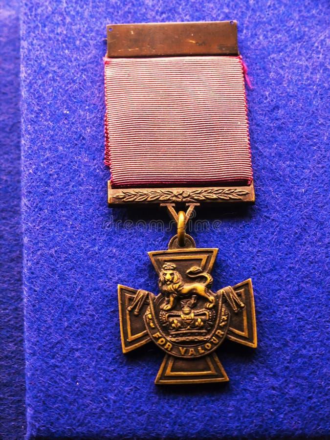 Mons Gra główna rolę medalu eksponat w Pułkowym muzeum w miasta muzeum w Lancaster Anglia w Centre miasto obrazy royalty free