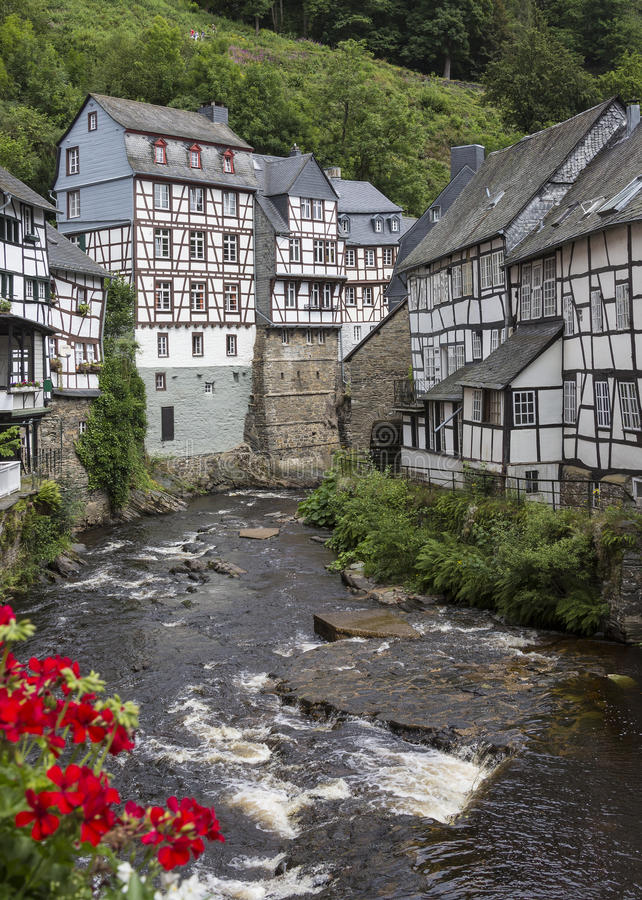 Monschau - Eifel Nature Park - Germany. Monschau - The town is located in the hills of the North Eifel, within the Hohes Venn – Eifel Nature Park in the royalty free stock image