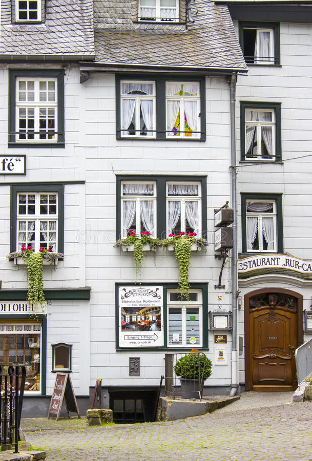 MONSCHAU, GERMANY. JULY 30, 2016: small town Monschau with unidentified people. The historic town center has many half-timbered houses and narrow streets stock photos