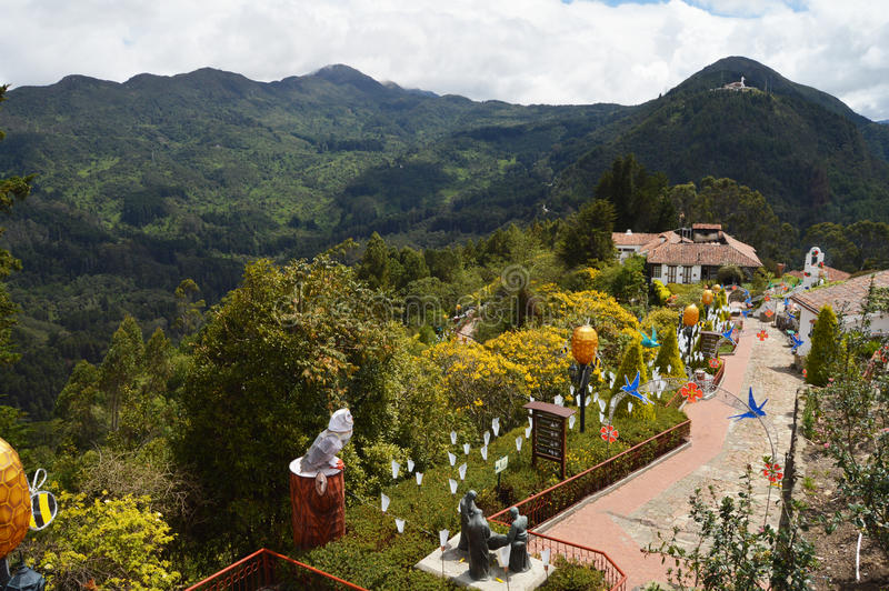 Monserrate山在波哥大,哥伦比亚 免版税库存照片