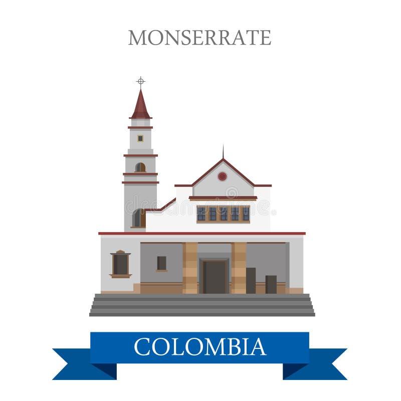 Monserrate em marcos lisos da atração do vetor de Bogotá Colômbia ilustração royalty free